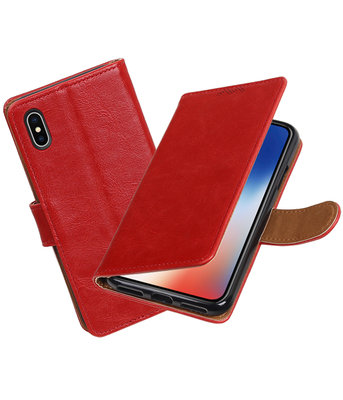 Apple iPhone X Pull-Up booktype hoesje Rood