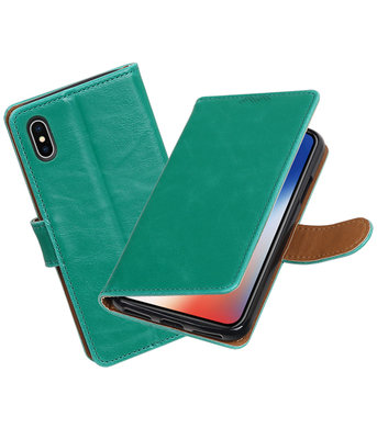 Apple iPhone X Pull-Up booktype hoesje Groen