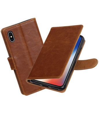 Apple iPhone X Pull-Up booktype hoesje Bruin