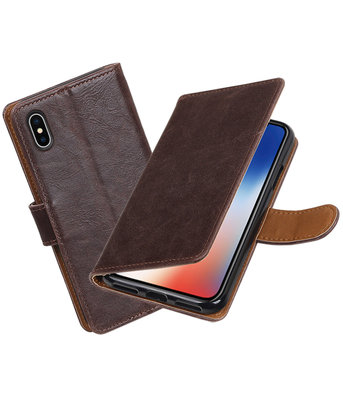 Apple iPhone X Pull-Up booktype hoesje Mocca
