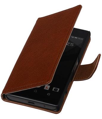 Hoesje voor Samsung Z1 Z130H Echt Leer Leder booktype Bruin