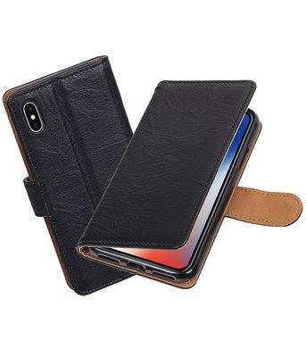Hoesje voor Apple iPhone X Echt Leer Leder booktype Zwart