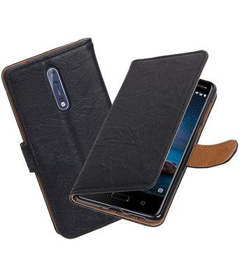 Hoesje voor Nokia 8 Echt Leer Leder booktype Zwart