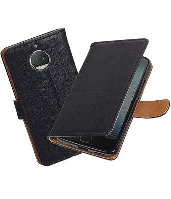 Hoesje voor Motorola Moto G5s Echt Leer Leder booktype Zwart