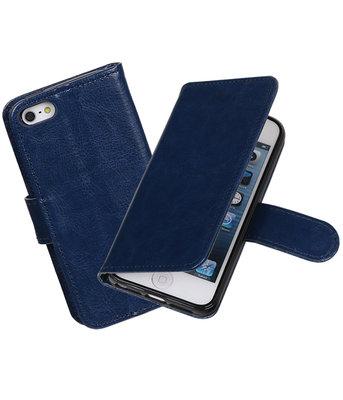 Donker Blauw Portemonnee booktype hoesje Apple iPhone 5 / 5s / SE