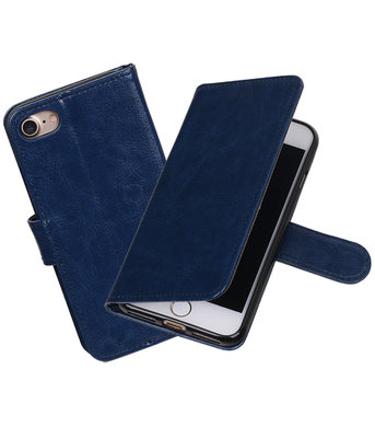 Donker Blauw Portemonnee booktype Hoesje voor Apple iPhone 7 / 8