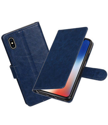 Donker Blauw Portemonnee booktype hoesje Apple iPhone X