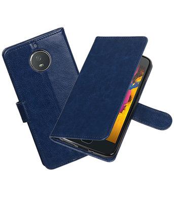 Donker Blauw Portemonnee booktype Hoesje voor Motorola Moto G5s Plus