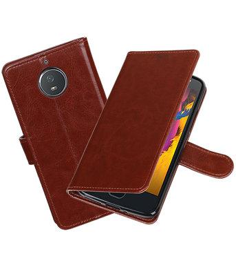 Bruin Portemonnee booktype Hoesje voor Motorola Moto G5s Plus