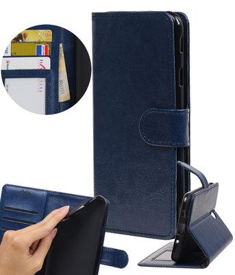 Donker Blauw Portemonnee booktype Hoesje voor Huawei Y7 / Y7 Prime