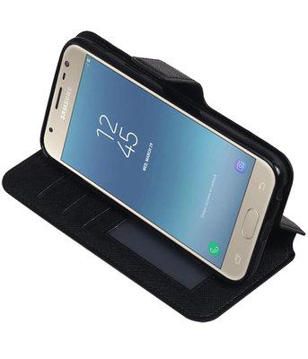 Zwart Hoesje voor Samsung Galaxy J3 2017 TPU wallet case booktype HM Book