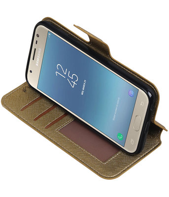Goud Hoesje voor Samsung Galaxy J3 2017 TPU wallet case booktype HM Book