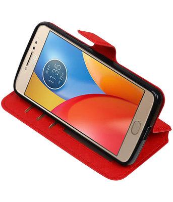Rood Hoesje voor Motorola Moto E4 TPU wallet case booktype HM Book