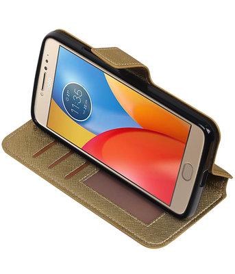 Goud Hoesje voor Motorola Moto E4 TPU wallet case booktype HM Book