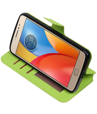 Groen Hoesje voor Motorola Moto E4 TPU wallet case booktype HM Book