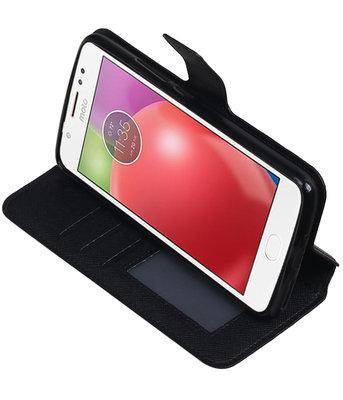 Zwart Hoesje voor Motorola Moto E4 Plus TPU wallet case booktype HM Book