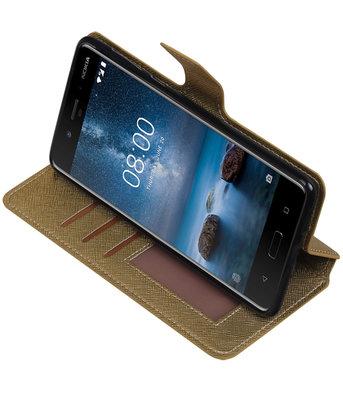 Goud Hoesje voor Nokia 8 TPU wallet case booktype HM Book