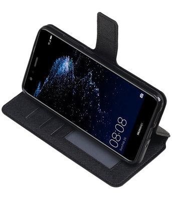 Zwart Hoesje voor Huawei P10 Lite TPU wallet case booktype HM Book