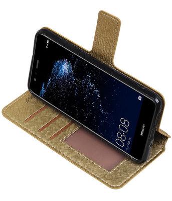 Goud Hoesje voor Huawei P10 Lite TPU wallet case booktype HM Book