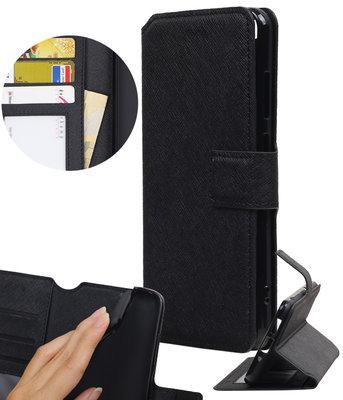 Zwart Hoesje voor Huawei P8 Lite 2017 TPU wallet case booktype HM Book