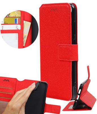 Rood Hoesje voor Huawei P8 Lite 2017 TPU wallet case booktype HM Book