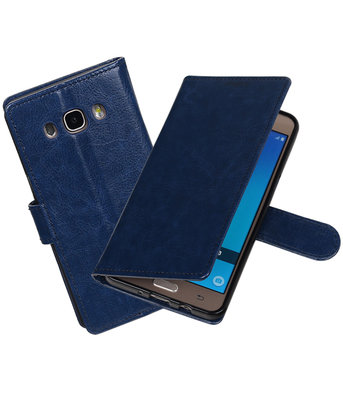 Donker Blauw Portemonnee booktype Hoesje voor Samsung Galaxy J7 2016