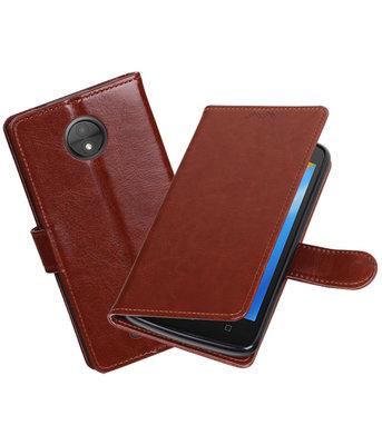 Bruin Portemonnee booktype Hoesje voor Motorola Moto C