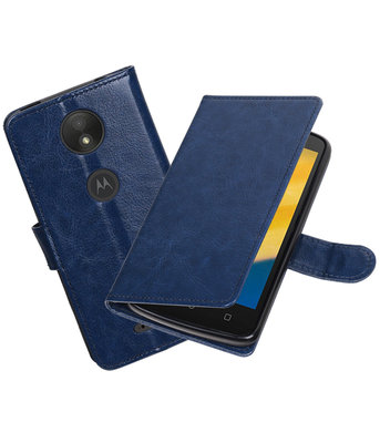 Donker Blauw Portemonnee booktype Hoesje voor Motorola Moto C Plus