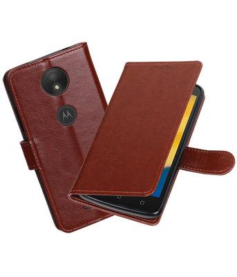Bruin Portemonnee booktype Hoesje voor Motorola Moto C Plus