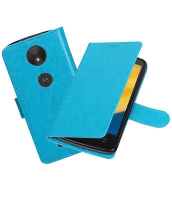 Turquoise Portemonnee booktype Hoesje voor Motorola Moto C Plus