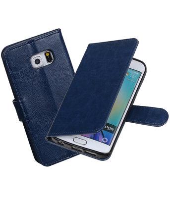 Donker Blauw Portemonnee booktype Hoesje voor Samsung Galaxy S6 Edge G925F