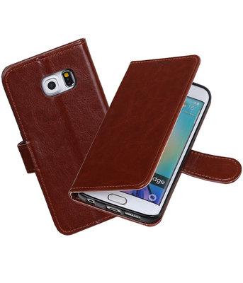 Bruin Portemonnee booktype Hoesje voor Samsung Galaxy S6 Edge G925F