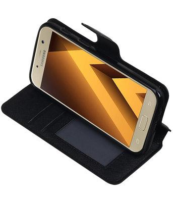 Zwart Hoesje voor Samsung Galaxy A3 2017 TPU wallet case booktype HM Book