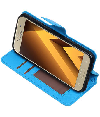 Blauw Samsung Galaxy A3 2017 TPU wallet case booktype hoesje HM Book