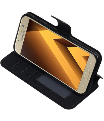 Zwart Hoesje voor Samsung Galaxy A5 2017 TPU wallet case booktype HM Book