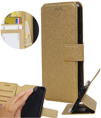 Goud Huawei Y5 / Y6 2017  TPU wallet case booktype hoesje HM Book