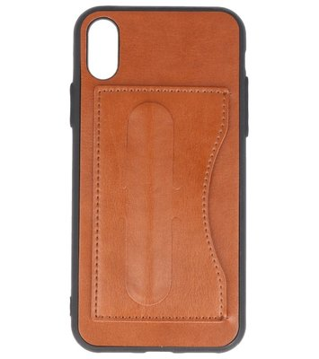 Apple iPhone X Stand TPU back case hoesje Bruin