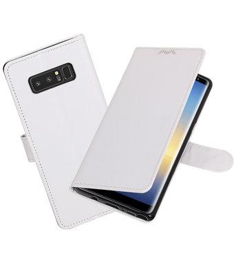 Wit Portemonnee booktype Hoesje voor Samsung Galaxy Note 8