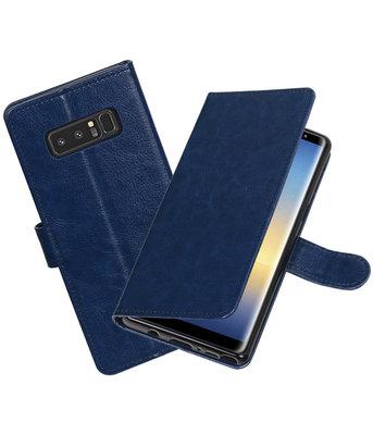 Donker Blauw Portemonnee booktype Hoesje voor Samsung Galaxy Note 8