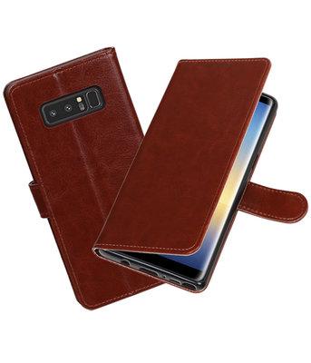 Bruin Portemonnee booktype Hoesje voor Samsung Galaxy Note 8