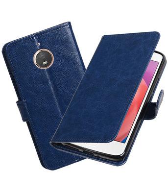 Donker Blauw Portemonnee booktype Hoesje voor Motorola Moto E4 Plus