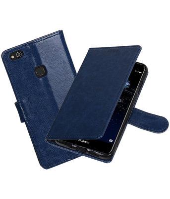 Donker Blauw Portemonnee booktype Hoesje voor Huawei P10 Lite