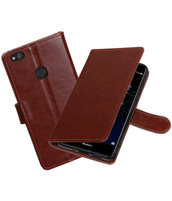 Bruin Portemonnee booktype Hoesje voor Huawei P10 Lite