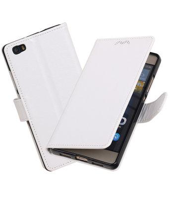 Wit Portemonnee booktype hoesje Huawei P8 Lite
