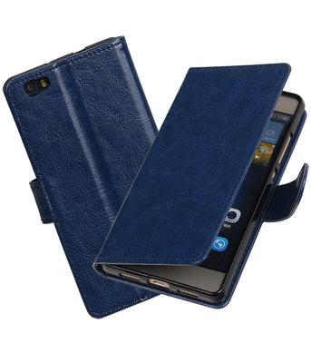 Donker Blauw Portemonnee booktype hoesje Huawei P8 Lite