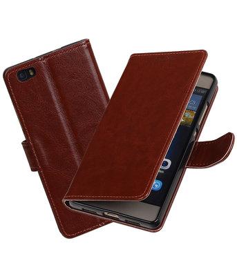 Bruin Portemonnee booktype hoesje Huawei P8 Lite