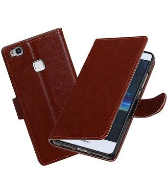 Bruin Portemonnee booktype Hoesje voor Huawei P9 Lite