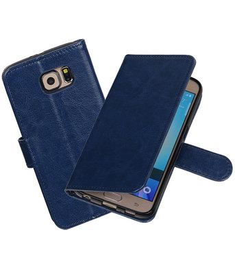 Donker Blauw Portemonnee booktype Hoesje voor Samsung Galaxy S6 G920F