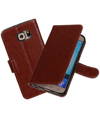 Bruin Portemonnee booktype Hoesje voor Samsung Galaxy S6 G920F