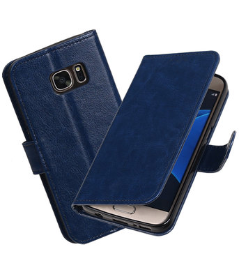 Donker Blauw Portemonnee booktype Hoesje voor Samsung Galaxy S7 G930F